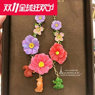 Generic France_Lei_Nahai_cards_2_Natalie_series_fox_squirrel_forest_frog_blue_ pink flower necklace pendant