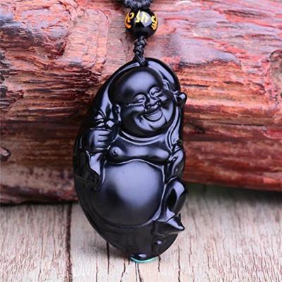 Generic Natural _matte_obsidian_belly_ Buddha pendant necklace bead chain lanyard lanyards men man boy _and_ women