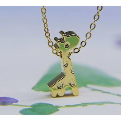Generic [ small cat _attack]_ Cute _cartoon_giraffe_deer_ gold-plated necklace pendant chain clavicle small _fine