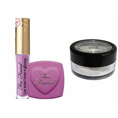 Too Faced Naughty Kisses & Sweet Cheeks Set Deluxe Lip Injection Glossy lip gloss in Like a Boss and Love Flush Long Lasting 16-Hour Blush In Dream Lover and Wet'n Wild Shimmer Dust