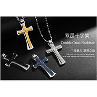 Generic Hot_angel_wings_ steel Double cross pendant necklace _factory_direct_special_ unisex