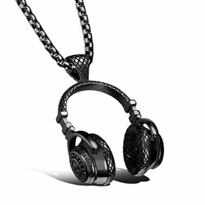 Generic Music_headphones_ pendant necklace couple _casual_ retro _wave_of_Japanese_and_ Korean _literary_ personality steel men man boy _and_ women