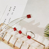 Generic K_sister_red_square_piece_of_ silver jewelry _suite_ Korean _version_of_ 925 _square_piece_of_ decorative pendant necklace ring earrings _three-piece