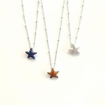 Generic s925 sterling silver necklace pendant color _Starfish