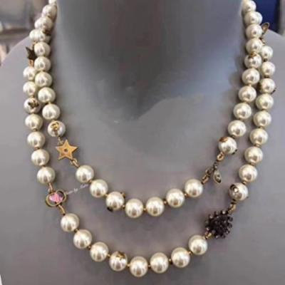 Generic High-end_ custom retro love _bees_stars_ pearl necklace pendant ?_New