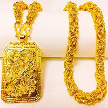 Generic Vietnam_fade_alluvial_ gold necklace pendant gold golden couple models _net_red_gilded_ gold wedding ring _red_ men man boy _do_not_fade