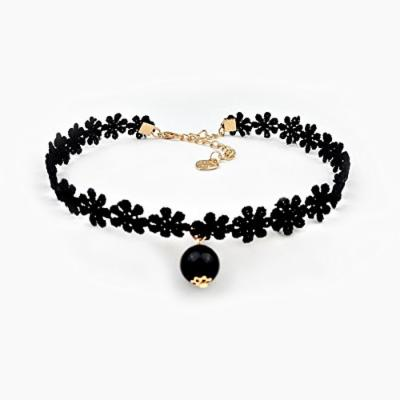 Generic Japan_and_South_ Korea _trend_of_ retro necklace pendant lace flower neckband collar women girl short _paragraph_ clavicle necklace pendant decorated _with_ black _velvet