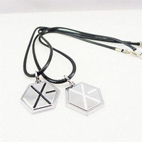 Generic A_ Korean couple necklace pendant _Wu_Yifan_ leather _cord_ pendant necklace clavicle chain _does_not_fade_ gift _for_ boys _and_ girl s