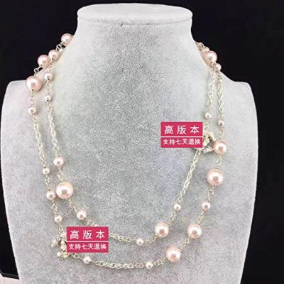 Generic pink pearl necklace pendant sweater chain