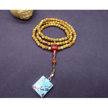 Generic Old_Xingyue_Bodhi_8x7_with_South_onyx_turquoise_ Buddha _head_without_incident_license_ Beads necklace pendant _