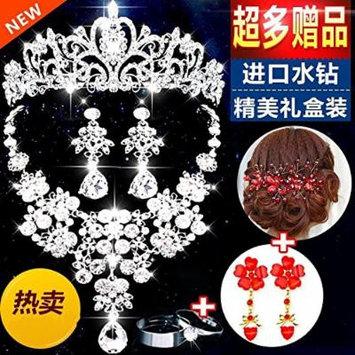 Generic 2018 bride crown tiara headdress earring necklace hair ornaments Korean married wedding studio makeup kit accessories headdress