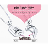 Generic Male_and_ women girl students lettering couple custom steel necklace pendant _one_ pair _of_ Korean fashion accessories clothing accessories
