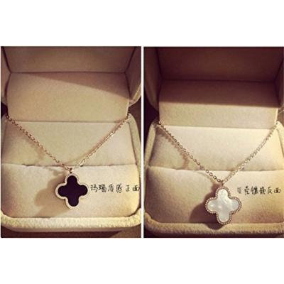 Generic Korean fashion simple _four-leaf_clover_ necklace pendant women girl chain clavicle steel hanging ornaments accessories