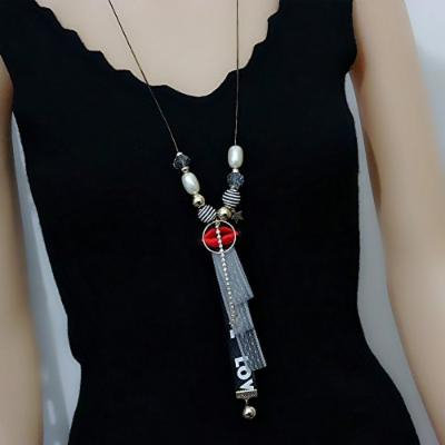 Generic Lip_ lace fringed sweater chain _no_good_ fashion new Korean long pendant necklace ornaments clothing accessories