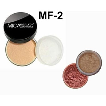 Bundle 3 Items: Mica Beauty Mineral Loose Powder foundation 9 Gram + Itay Mineral Cosmetics Matching Blush and Itay Highlights Elegance #1 (MF-2 SANDSTONE)