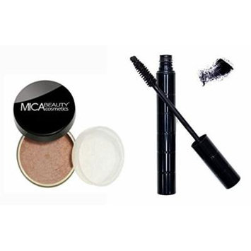 Bundle 2 Items: Mica Beauty Mineral Loose Powder foundation 9 Gram + Itay Mineral Black Mascara for long Lashes (MF-15 NUTMEG(NEW))