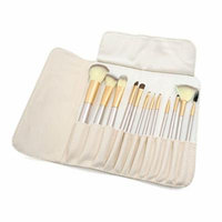 uxcell® 12 Pcs Ladies Cosmetic Makeup Toiletry Brushes Set Eyeshadow Powder Tools Gold Tone Beige