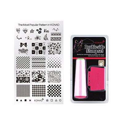 Konad Square Stamping Nail Art Image Plate w/ Double Side Stamp Set (BEST)