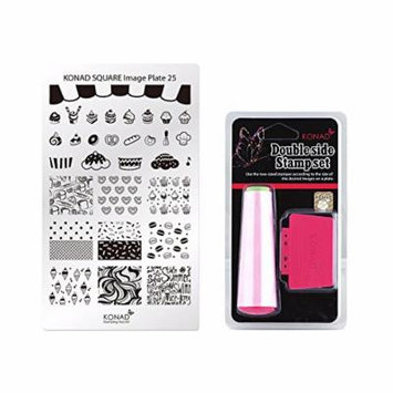 Konad Square Stamping Nail Art Image Plate w/ Double Side Stamp Set (M25)