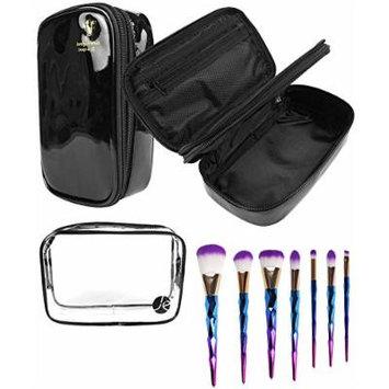 JE Bundle (3 PCS SET) Black Bold Color + Clear PVC Cosmetic Bag + (7 PCS Set) Makeup Eyeshadow & Concealer Pro Brush Set