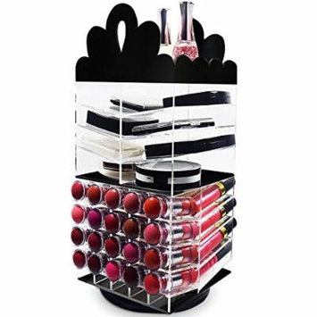 Ikee Design Black Tiara Spinning Acrylic Spinning Lipstick Tower Rotating Lipgloss Holder | Makeup Organizer Cosmetic Storage | Eye Shadow, Palette, Nail Polish (Holds Up to 20 Lipsticks)