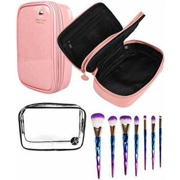 JE Bundle (3 PCS SET) Pink Bold Color + Clear PVC Cosmetic Bag + (7 PCS Set) Makeup Eyeshadow & Concealer Pro Brush Set