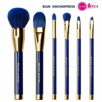 BM Blue Enchantress Makeup Brushes Premium Makeup Brush Set Synthetic Kabuki Cosmetics Foundation Blending Blush Eyeliner Face Powder Brush Makeup Brush Kit (6PCS Gold and Blue)