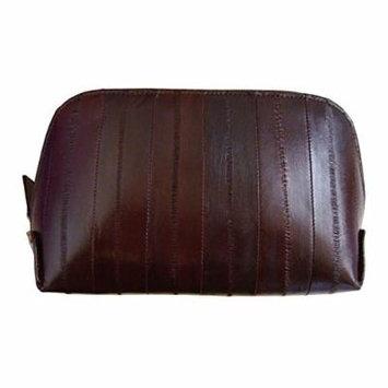Genuine Eel Skin Leather Zip Around Cosmetic Makeup Pouch (Dark brown)