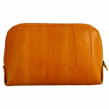 Genuine Eel Skin Leather Zip Around Cosmetic Makeup Pouch (Orange)