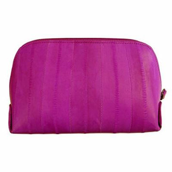 Genuine Eel Skin Leather Zip Around Cosmetic Makeup Pouch (Magenta)
