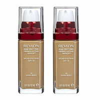 Revlon Age Defying Firming and Lifting Makeup, Warm Beige (2 Pack) + FREE Travel Toothbrush, Color May Vary