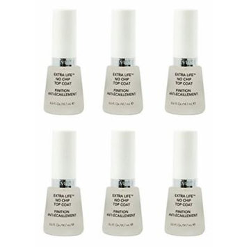 Revlon Extra Life No Chip Top Coat Nail Care, 0.5 Fl Oz (6 Pack) + FREE Travel Toothbrush, Color May Vary
