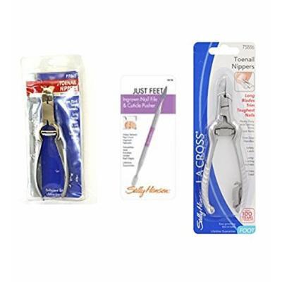 Sally Hansen LA Cross Toenail Nippers P7865 + Ingrown Nail File Cuticle Pusher 58158 + Long Toenail Nippers 75886 + FREE Travel Toothbrush, Color May Vary
