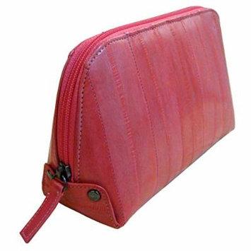 Genuine Eel Skin Leather Zip Around Cosmetic Makeup Pouch (Dark Pink)
