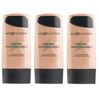 Max Factor Lasting Performance Foundation - 101 Ivory Beige (Pack of 3) + FREE Luxury Luffa Loofah Bath Sponge On A Rope, Color May Vary