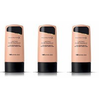 Max Factor Lasting Performance Make-Up 100 Fair (Pack of 3) + FREE Travel Toothbrush, Color May Vary