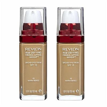 Revlon Age Defying Firming and Lifting Makeup, Warm Beige (2 Pack) + FREE Luxury Luffa Loofah Bath Sponge On A Rope, Color May Vary