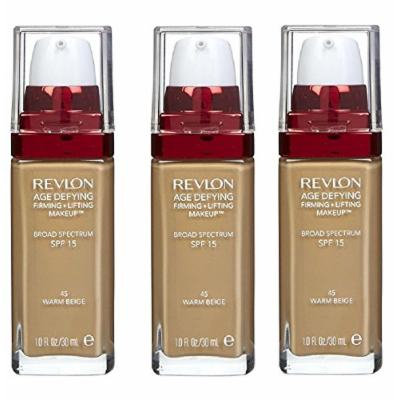 Revlon Age Defying Firming and Lifting Makeup, Warm Beige (3 Pack) + FREE Travel Toothbrush, Color May Vary