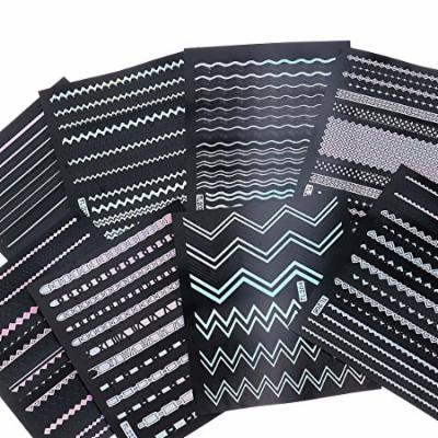 BMC 8 Sheet Holographic Nail Art Manicure Vinyl Guide Sticker Set - Holo Strips