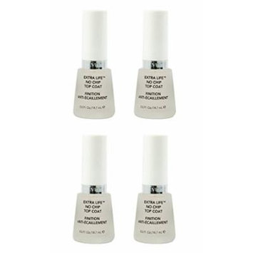 Revlon Extra Life No Chip Top Coat Nail Care, 0.5 Fl Oz (4 Pack) + FREE Assorted Purse Kit/Cosmetic Bag Bonus Gift