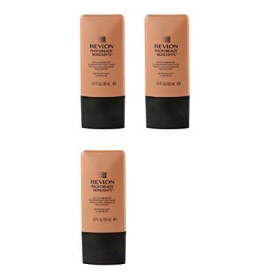 Revlon Photo Ready Skinlights Face Illuminator - Peach Light (3 Pack) + FREE Assorted Purse Kit/Cosmetic Bag Bonus Gift