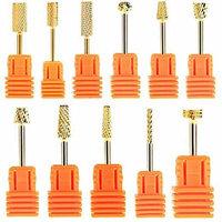 JUMP Professional Electric Nail Drill Bit 3/32'' Gold Carbide Nail Art Bit Tools (#01-12)