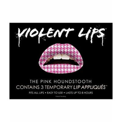 Violent Lips Pink Houndstooth - Lot of (25) Packages of 3 Lip Tattoo Appliques Each, Total of 75 in Pink Houndstooth