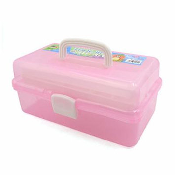 uxcell® Pink 3 Tiers Empty Nail Art Manicure Makeup Cosmetic Tool Container Storage Box