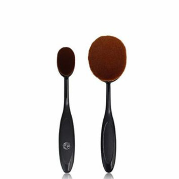 Energy Brand Long Plastic Handle Soft Synthetic Hair Face Liquid Foundation Tooth Shape Makeup Brush 2pcs