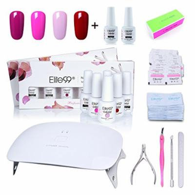 Elite99 Soak Off Gel Nail Polish Kit with Top Base Coat 8ml + SUNmini2 Plus 24W UV LED Nail Lamp + Remover Pads and Cleanser Wipes 50pcs + Nail Files and Buffer, Cuticle Pusher Clipper Fork Set C007