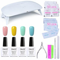 Elite99 Alcohol Removable One Step Gel Polish Kit No Need Base Top Coat + SUNmini2 Plus UV LED Nail Lamp + Gel Remover Wraps & Cleanser Pads + 4PCS Nail Art Tools Set C011