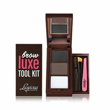Brow Luxe Tool Kit by Luscious Cosmetics. Shade: Dark. Multi-tasking Brow Palette With Powders, Wax, Mini Tweezer, Brushes & Stencils. Vegan and Cruelty Free. 0.22 Ounce