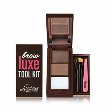 Brow Luxe Tool Kit by Luscious Cosmetics. Shade: Light. Multi-tasking Brow Palette With Powders, Wax, Mini Tweezer, Brushes & Stencils. Vegan and Cruelty Free. 0.22 Ounce