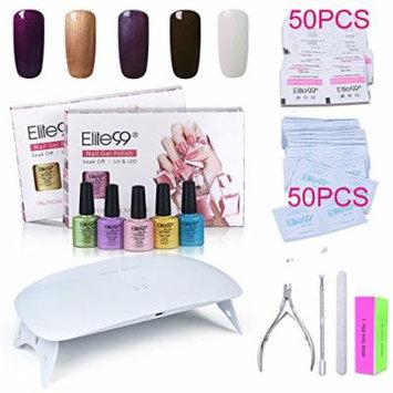 Elite99 Soak Off Gel Nail Polish Kit + SUNmini2 Plus 24W UV LED Nail Lamp + Gel Remover Wraps 50pcs + Cleanser Pads 50pcs + Nail Files and Buffer, Cuticle Pusher and Clipper Set C020